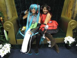 Miku and Meiko cosplay at Banzaikon 2013 by Hyrulekeyblade
