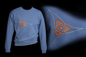 Embroidered Norse Triquetra on Indigo Sweatshirt by FancyTogs