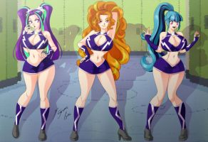 Comission - Cheer-Dazzlings V2 by Shinta-Girl