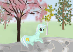 Lyra in the Park WIP by InkBlu
