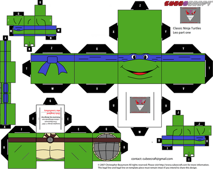 classic Ninja Turtles Leo Cubee template part one by lovefistfury