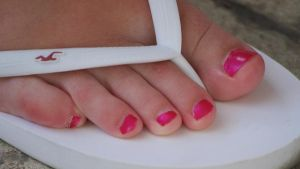 Pink Glossy Toes in White Flip Flop II by Feetatjoes