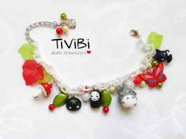 Totoro and Friends bracelet with Italian colors by tivibi
