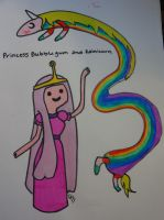 Princess Bubllegum and Rainicorn by larsaurs-roars