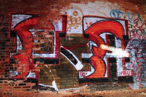 Red Brick and Paint by S-H-Photography