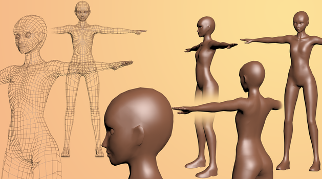 WIP Full body female mesh (free FBX, OBJ download) by archon357