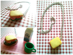 Handmade Polymer Clay Ham Sandwich Necklace! by mattiemazingcharms