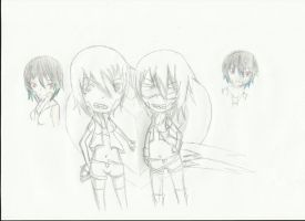 Unhappy Refrain Utau chibis by replica-luna