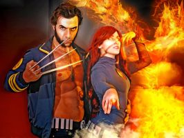 Wolverine and Phoenix by Evejo