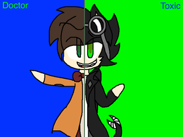 Doctor and Toxic (Split,Chibi,Text) by Spyrofan00lover