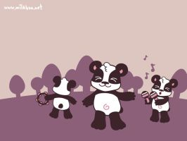 Panda Dance Wallpaper by milkbun
