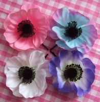 Pastel Poppy's Hair Flowers by rascalkosher