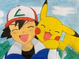 Ash and Pika you are happy by Ash-Misty-Pikachu