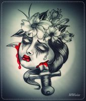 dead head tattoo flash woman dagger and flowers by MWeiss-Art