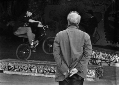 South Bank - Old Man and BMX by AnneAxeDote