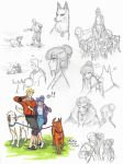 Naruhina AU sketches: Romance at the Dog Park by Kiyomi-chan16