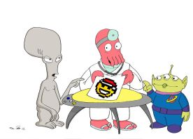 Aliens: Roger, Dr Zoidberg, 3 eyes by emalterre