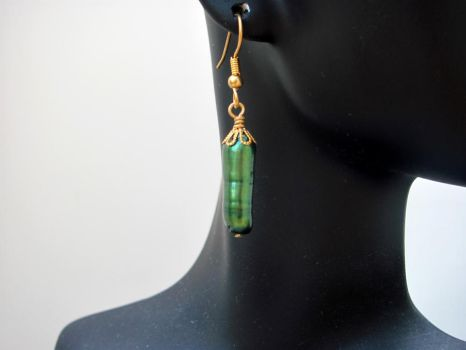 Green Freshwater Pearl Dangles by lauriescustomcreate