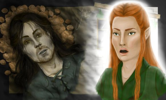 Kili and Tauriel by autumnfeuille