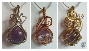 Dragon Spheres - Wire Wrapped Amethyst Pendants by Drakarus