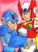 Sketchcard PXZ Mega Man X and Zero by fedde