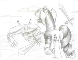 Rarity Fighting Giant Crab by Ariah101