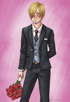 Sanji - Bouquet of Roses by KuraVix