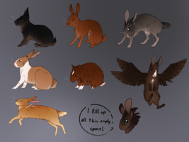 Sheet of Rabbityfied Human Chars by Nuklear-Bunnies