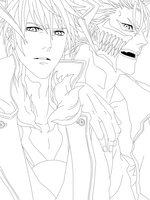 Bleach - Ichigo And Grimmjow Lineart by KhalilXPirates