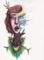 Original Surreal Female watercolor painting by joejoemuh9