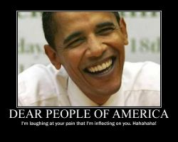 Obama laughs at pain by Balddog4