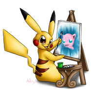 :Redo: An Arty Pikachu by Cattensu