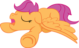 Snoozing Scootaloo - no BG by MoongazePonies