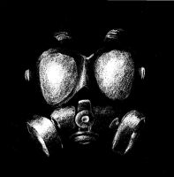 Gas Mask harsh black and white by MobstaSheep13