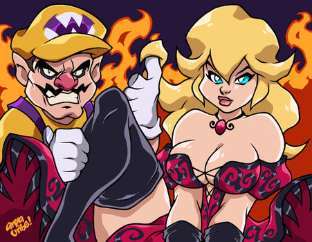 EVIL PRINCESS PEACH and WARIO by AnyaUribe