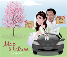 Mac and Katrina Wedding Caricature by PiccleFiccle