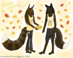 Card - autumn cat and fox by LunozvezdnaiaCoon
