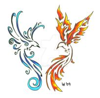 Firebird and Icebird by Finaira