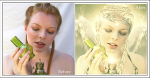 The Fragrance of Immortality ~ Before-after mosaic by RazielMB