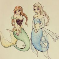Anna and Elsa under the sea by MissVajsing