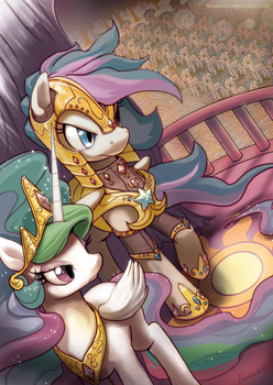 MLP FIM Commission - Blitzstar and Celestia by hinoraito