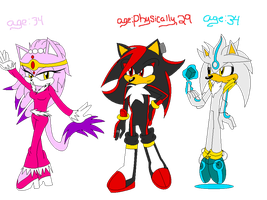 Blaze,Shadow and Silver 20 YRS Later by XRainbowIceCreamX