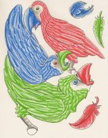 Three Parrots by Eviecats