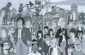 Doctor Who 1st, 2nd and Futurama Black and White by iamtherealbender