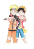 Naruto and Luffy by NikkouViolet
