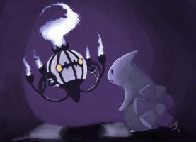 Chandelure and Larvitar by ditto9