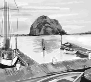 Morro Bay Rock digital speed painting by ink5000