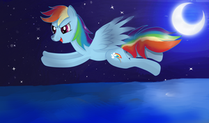Rainbow Dash flying by almaustral