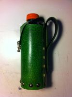 Forest Green Leather Bottle Carrier - Side by SonsOfPlunderLeather