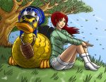 A girl and her gigantic freaking duck by geekling